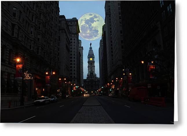 Full Moon Over Broad Street Greeting Card by Bill Cannon