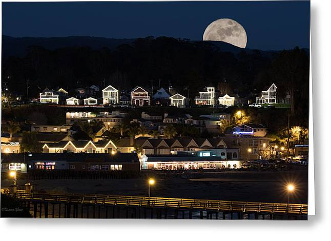 Full Moon Over Capitola Greeting Card by Deana Glenz