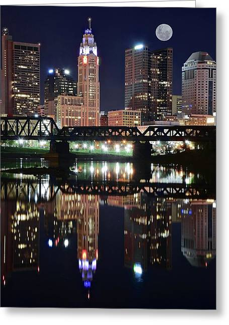 Full Moon Over Columbus Ohio Greeting Card