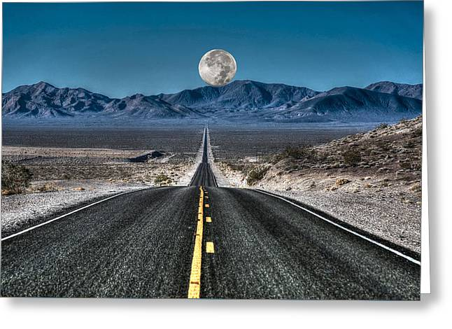 Full Moon Over Death Valley Greeting Card