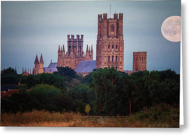 Full Moon Over Ely Cathedral Greeting Card