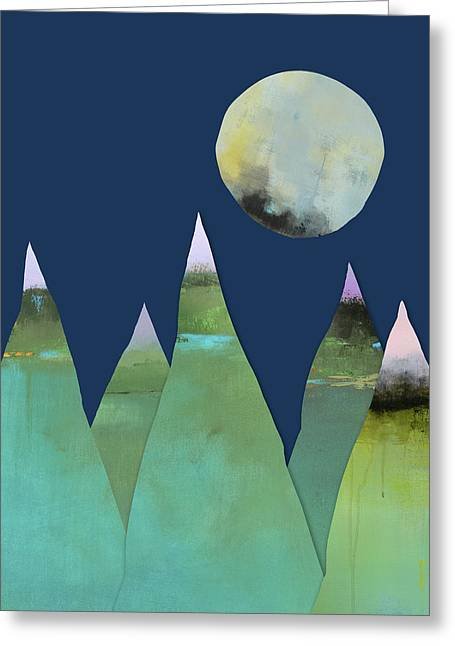 Full Moon Over Green Mountains Greeting Card