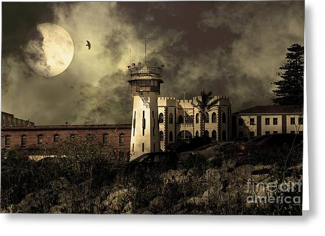 Full Moon Over Hard Time San Quentin California State Prison 7d18546 V2 Sepia Greeting Card by Wingsdomain Art and Photography