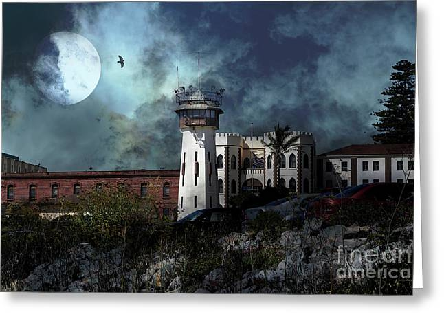 Full Moon Over Hard Time San Quentin California State Prison 7d18546 V2 Greeting Card by Wingsdomain Art and Photography