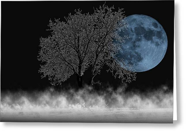 Full Moon Over Iced Tree Greeting Card