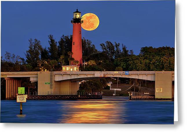 Greeting Card featuring the photograph Full Moon Over Jupiter Lighthouse, Florida by Justin Kelefas