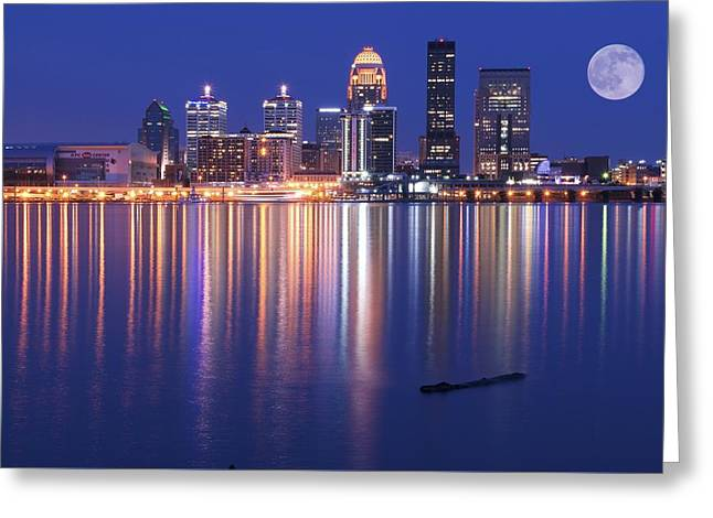 Full Moon Over Louisville Greeting Card by Frozen in Time Fine Art Photography