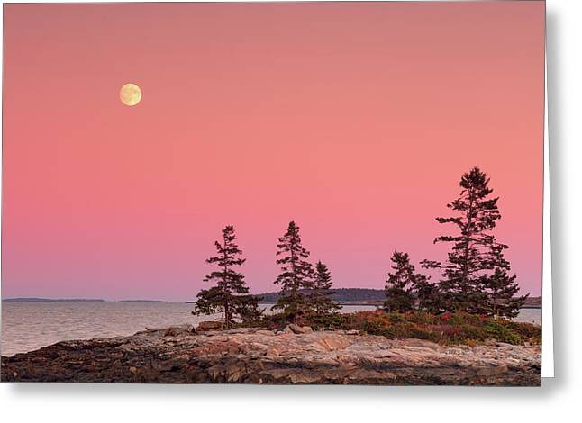 Greeting Card featuring the photograph Full Moon Over Maine  by Emmanuel Panagiotakis