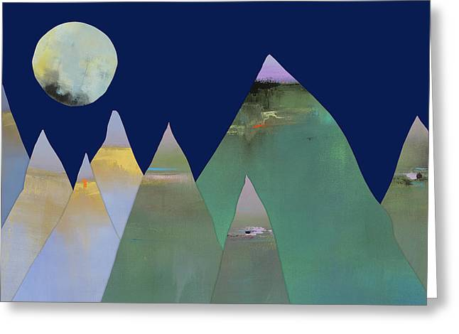 Full Moon Over Mountain Range Greeting Card