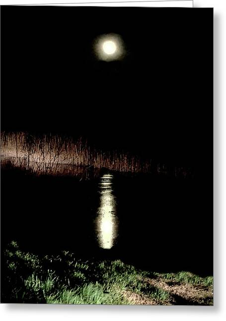 Full Moon Over Piermont Creek Greeting Card