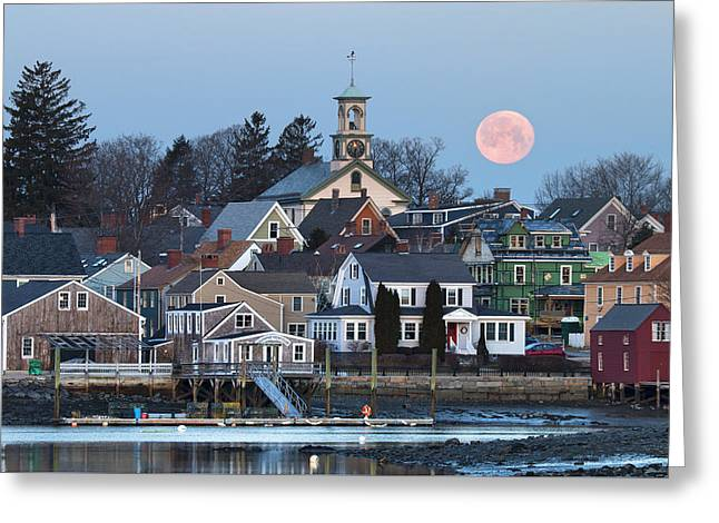 Full Moon Over Portsmouth Greeting Card by Eric Gendron