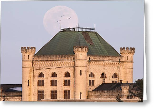 Full Moon Over Portsmouth Naval Prison Greeting Card by Eric Gendron