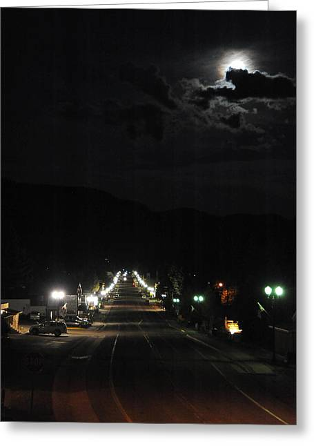 Full Moon Over Red River Greeting Card