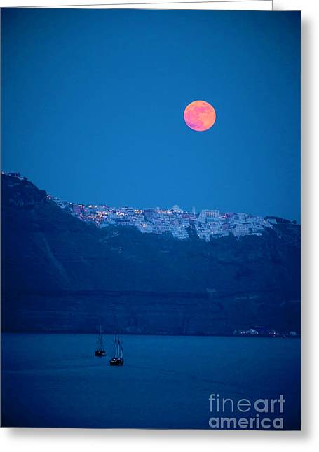 Full Moon Over Santorini Greeting Card by Brian Jannsen