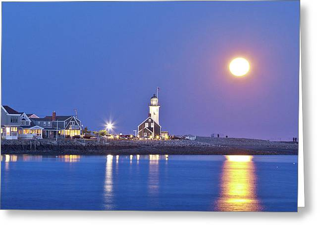 New England Lighthouse Greeting Cards - Full Moon over Scituate Light Greeting Card by Susan Cole Kelly