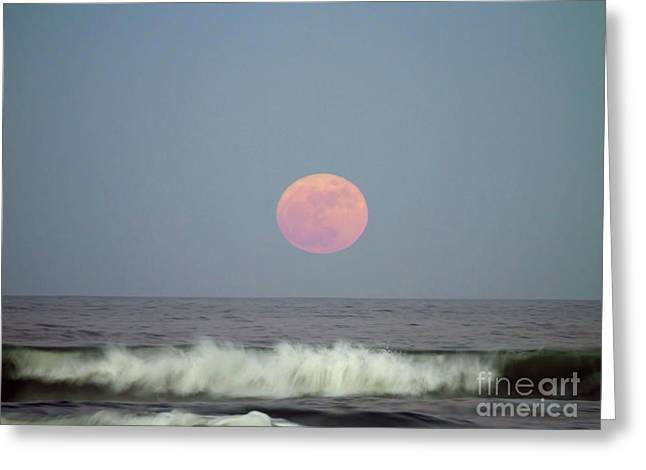 Full Moon Over The Atlantic Greeting Card by D Hackett