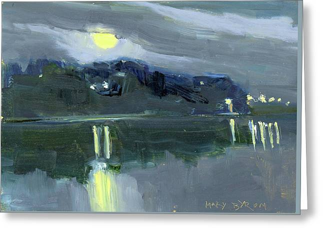 Full Moon Over The Harbor Greeting Card by Mary Byrom