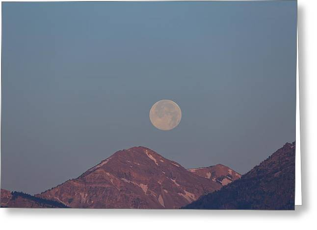 Full Moon Over The Tetons Greeting Card