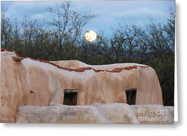 Full Moon Over Tumacacori Greeting Card by Feva Fotos