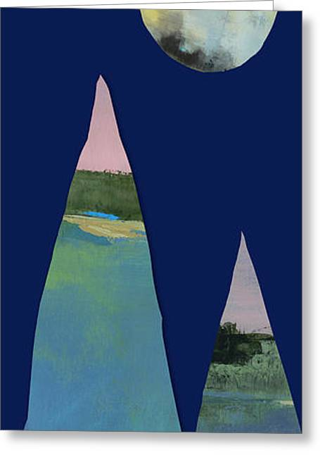 Full Moon Over Two Tall Mountains  Greeting Card