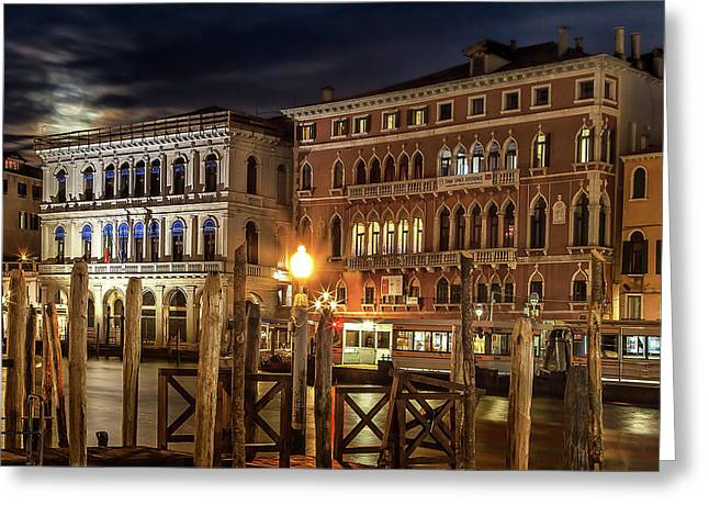 Full Moon Over Venice Greeting Card by Andrew Soundarajan