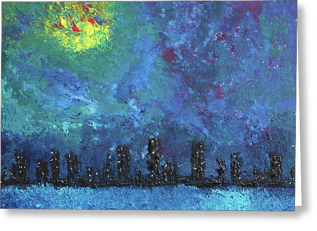 Full Moon Over Watercity Greeting Card by Erik Tanghe