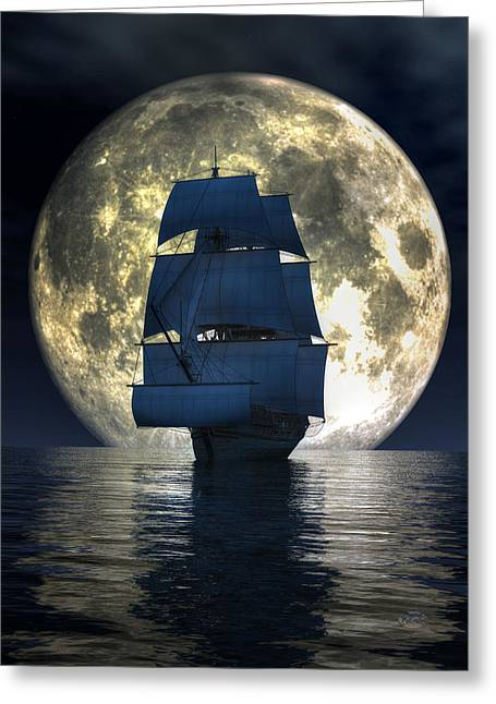 Greeting Card featuring the digital art Full Moon Pirates by Daniel Eskridge