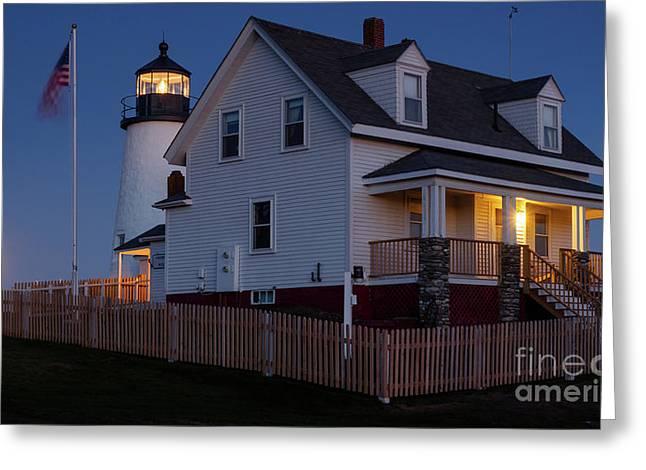 Full Moon Rise At Pemaquid Light, Bristol, Maine -150858 Greeting Card