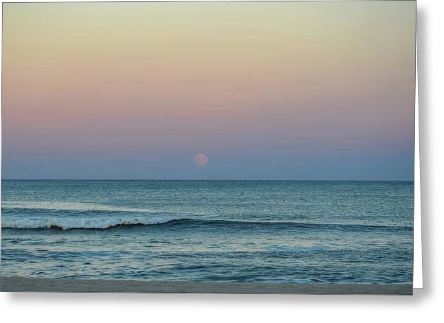 Full Moon Rise Seaside Nj October 2013 Greeting Card by Terry DeLuco