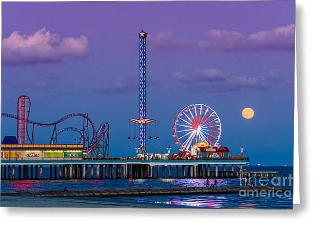 Full Moon Rising And Historic Pleasure Pier In Galveston Island - Texas Gulf Coast Greeting Card