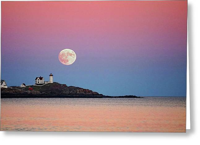 Full Moon Rising At Nubble Light Greeting Card