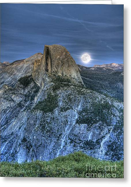 Full Moon Rising Behind Half Dome Greeting Card by Jim and Emily Bush