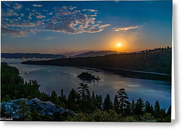 Full Moon Rising On Emerald Bay Greeting Card by Mike Ronnebeck