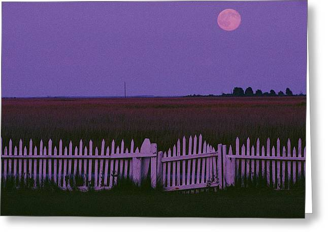 Full Moon Rising Over A Picket Fence Greeting Card by Robert Madden