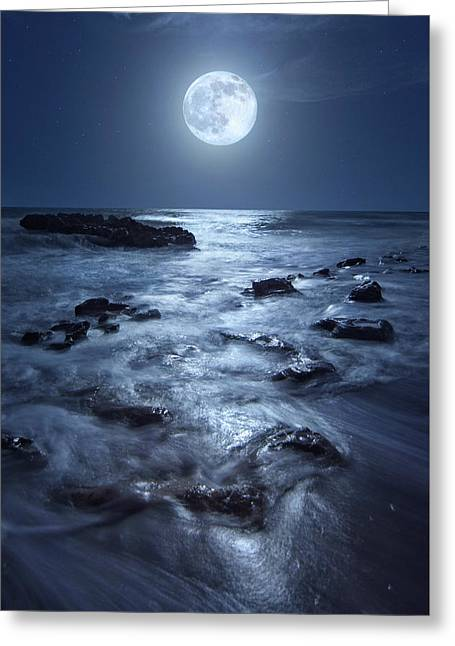 Greeting Card featuring the photograph Full Moon Rising Over Coral Cove Beach In Jupiter, Florida by Justin Kelefas