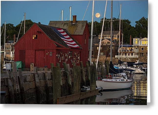 Full Moon Rising Over Motif  Number 1 Rockport Ma Greeting Card by Toby McGuire