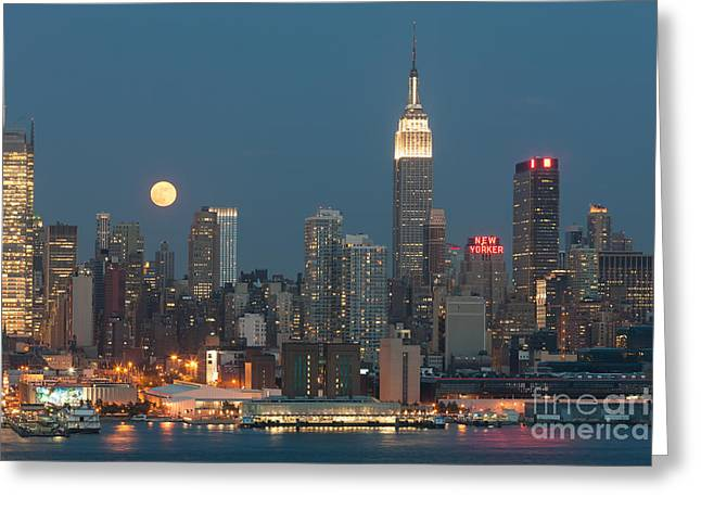 Full Moon Rising Over New York City II Greeting Card by Clarence Holmes