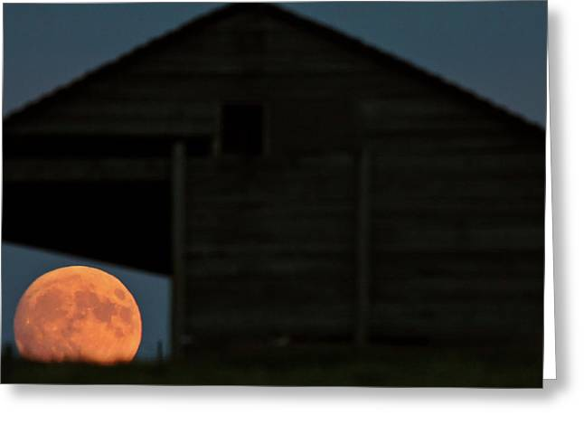 Full Moon Seen Through Old Building Window Greeting Card