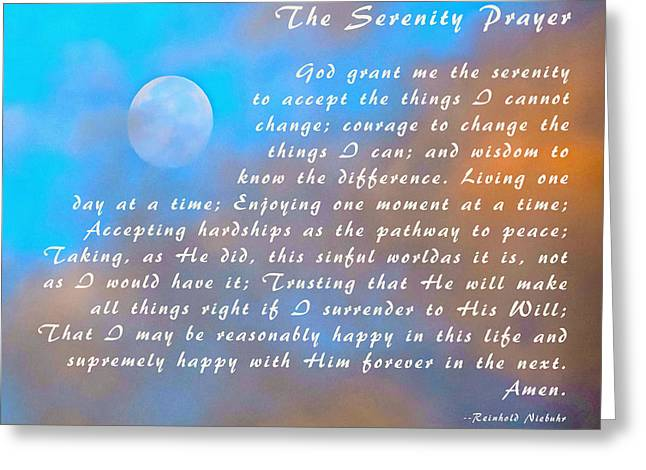 Greeting Card featuring the photograph Full Moon Serenity Prayer Digital by Floyd Snyder