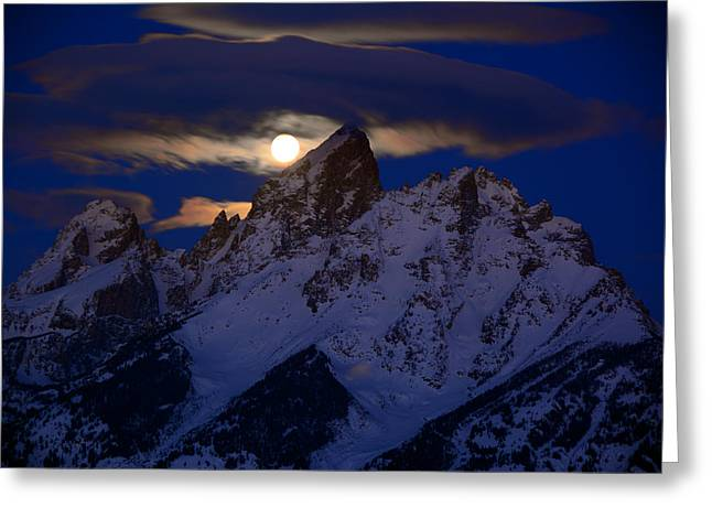 Full Moon Sets Over The Grand Teton Greeting Card