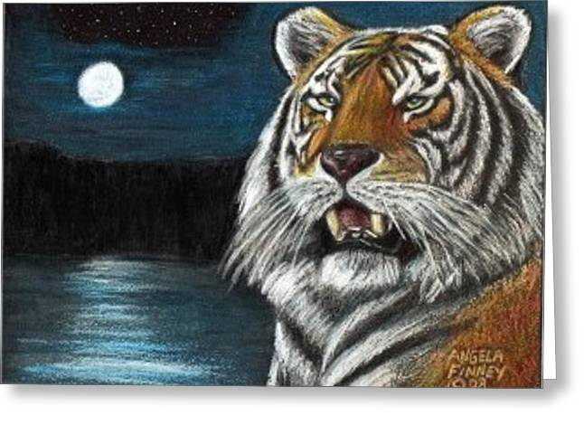 Full Moon Tiger Greeting Card by Angela Finney