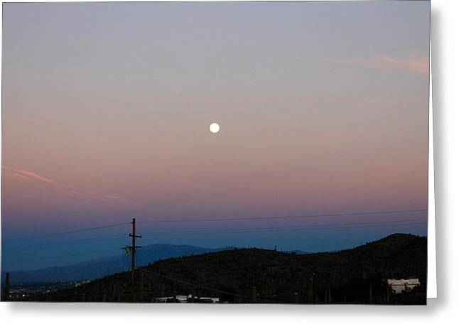 Full Moon Over Rincon Mountains Greeting Card