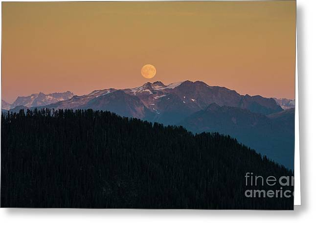 Full Moonrise Over The North Cascades Greeting Card by Mike Reid