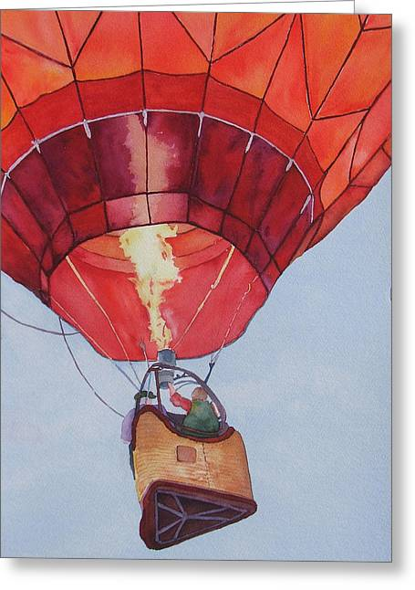 Greeting Card featuring the painting Full Of Hot Air by Judy Mercer