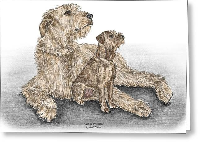 Full Of Promise - Irish Wolfhound Dog Print Color Tinted Greeting Card