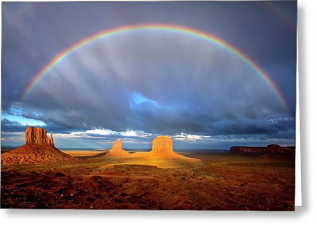 Full Rainbow Over The Mittens Greeting Card