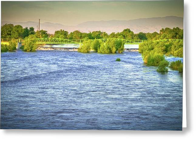 Full River Greeting Card by Connie Cooper-Edwards