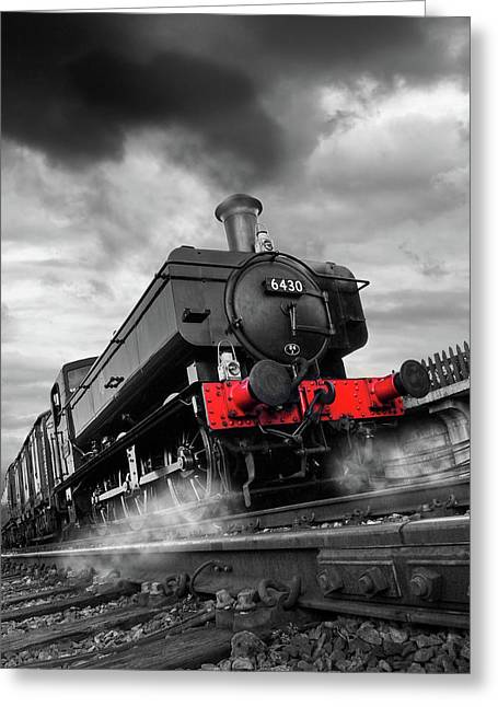 Full Steam Ahead - 6430 Pannier Train Greeting Card by Gill Billington