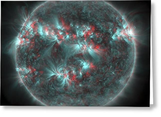 Full Sun With Lots Of Sunspots Greeting Card by Stocktrek Images
