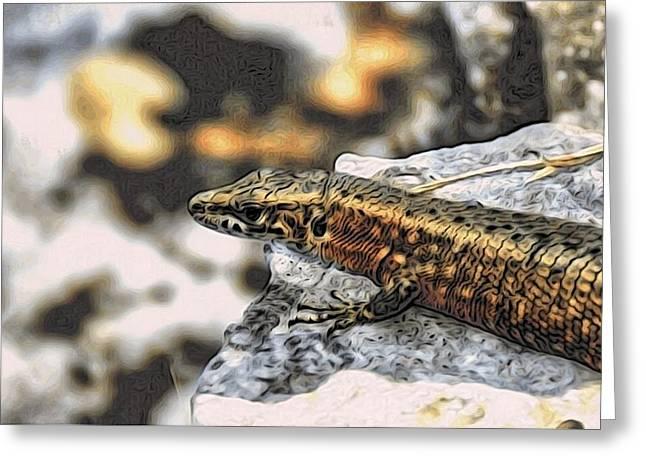 Full Up Lizard  Greeting Card by Alexandre Ivanov